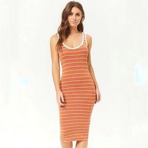 F21 Rust + Cream Striped Midi Tank Dress